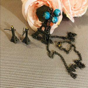 Eiffel Tower Set Petite Earrings Necklace